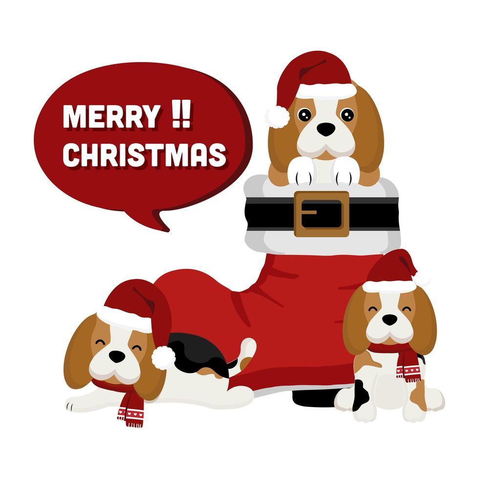 Weihnachtsbeagles im Weihnachtsstiefel vektor