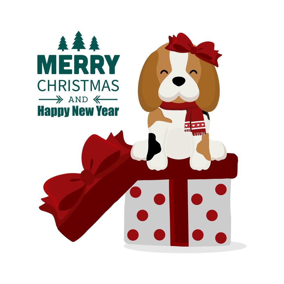 Weihnachtsbeagle mit Schleife und Schal auf Geschenkbox vektor