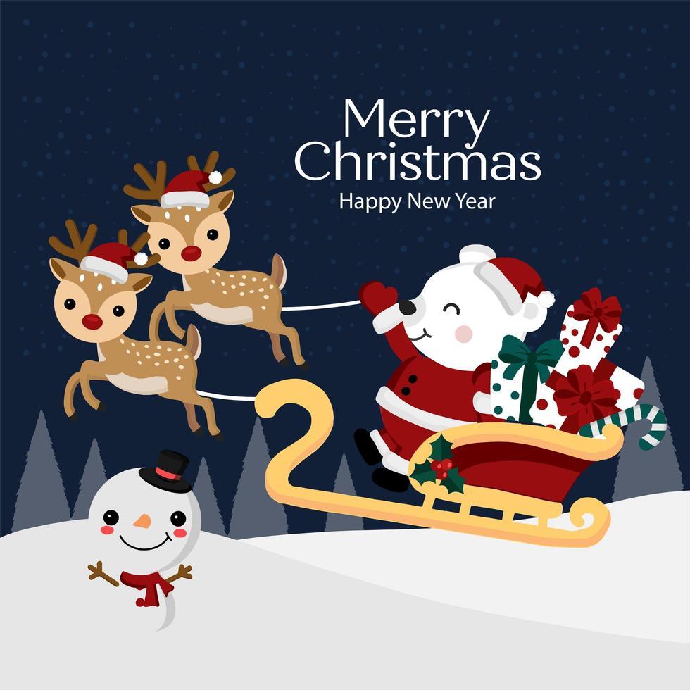 Santa Bär im Schlitten mit Geschenken in der Winterszene vektor
