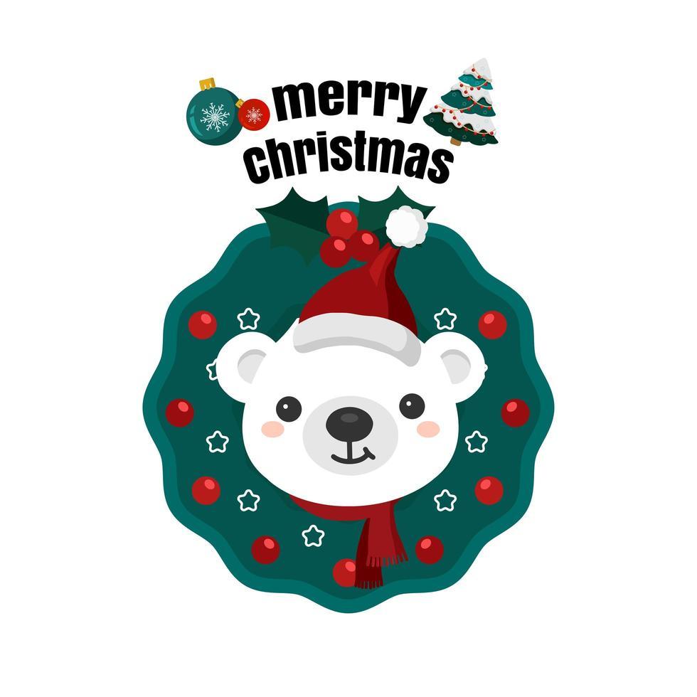Weihnachten in der Nähe mit Weihnachtsmütze im Kranz vektor