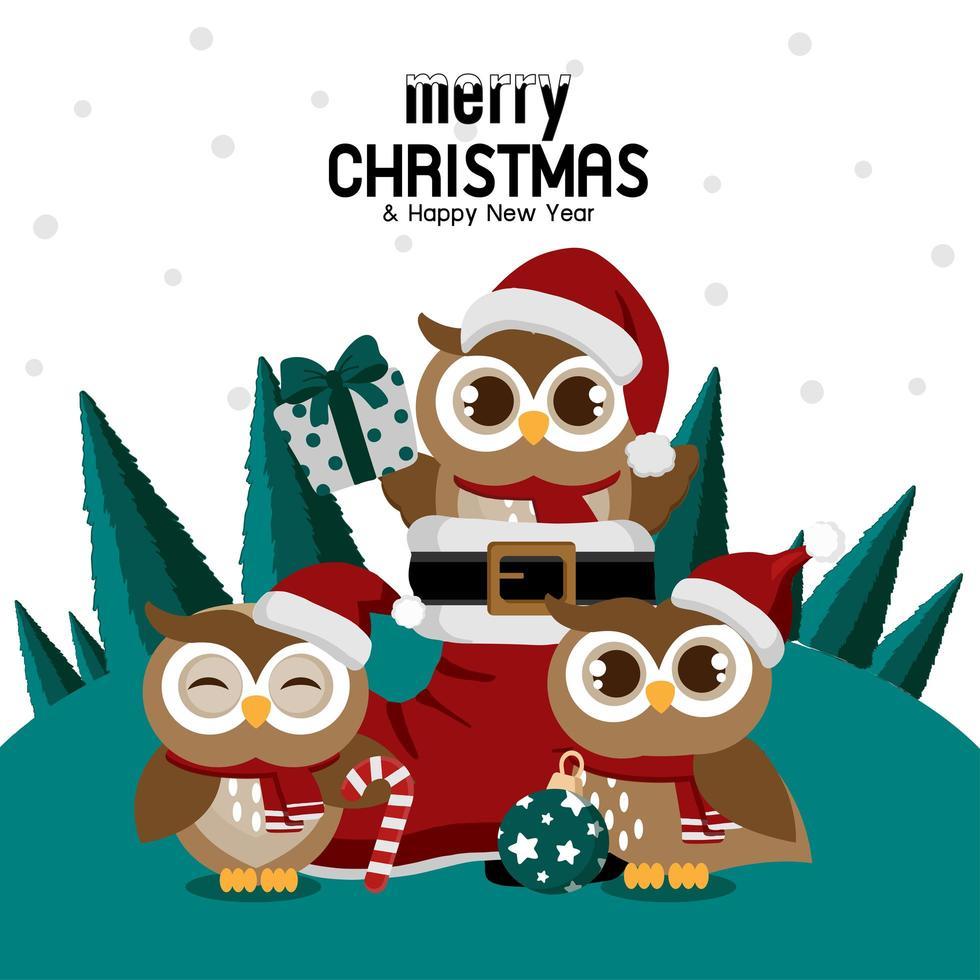Weihnachtseule im Weihnachtsstiefel mit Eulenfreunden vektor