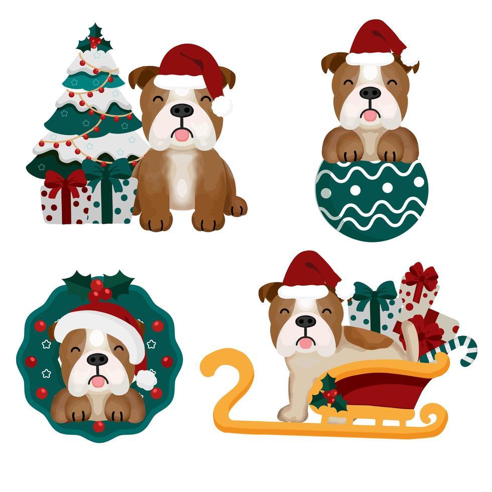 Weihnachtsset mit lustigem Bulldog in Weihnachtsmütze vektor