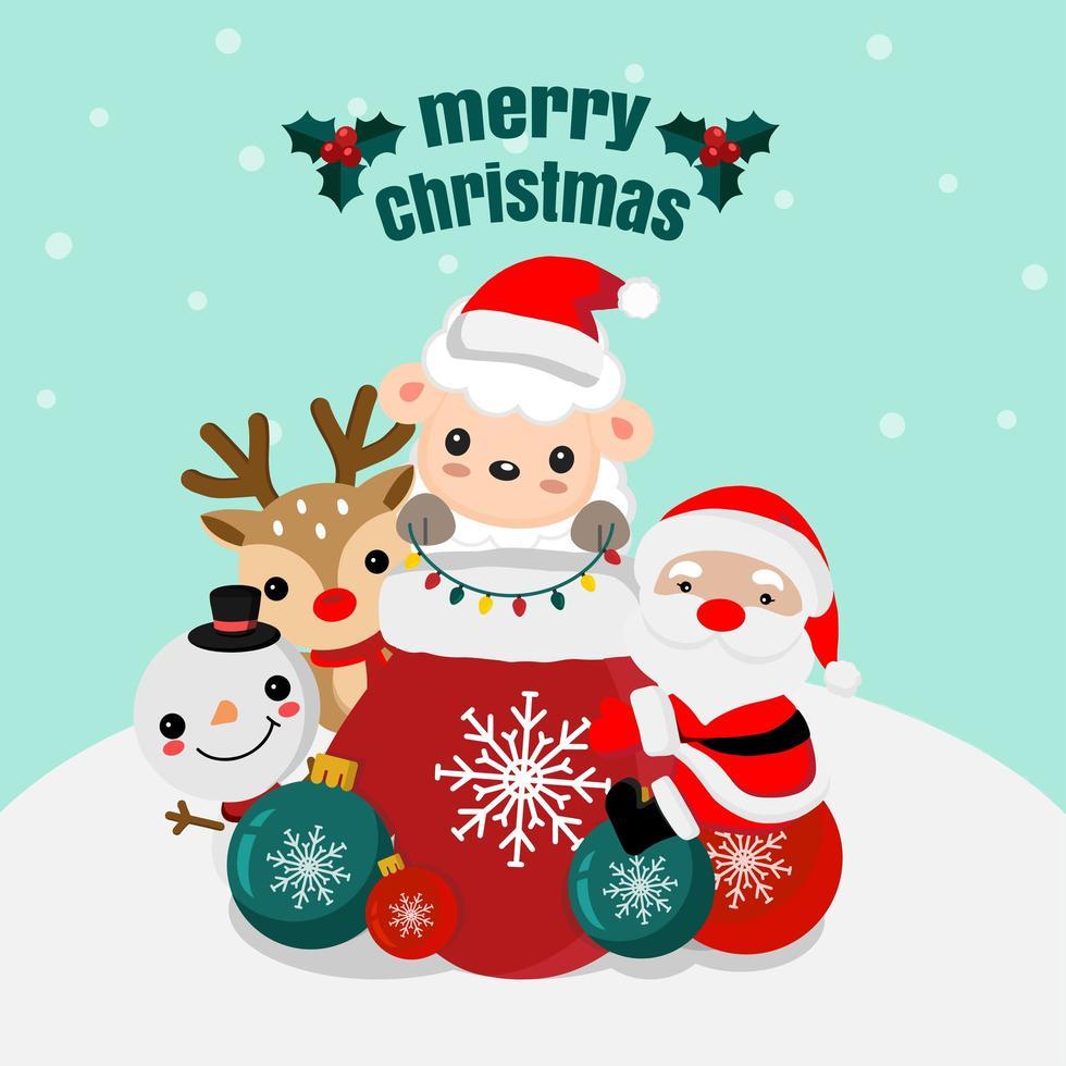 Weihnachtsszene mit Weihnachtsmann und Tierfreunden vektor