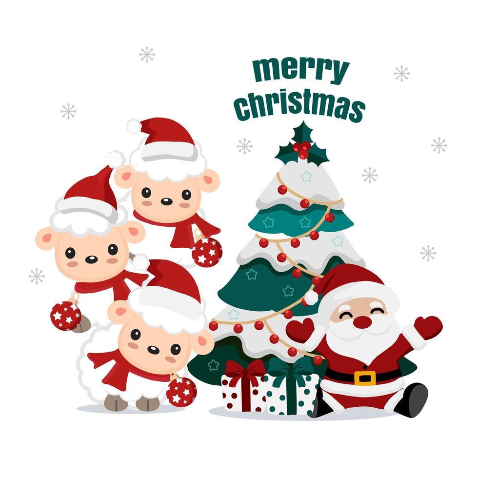 Santa und süße Lämmer mit Weihnachtsbaum und Geschenken vektor