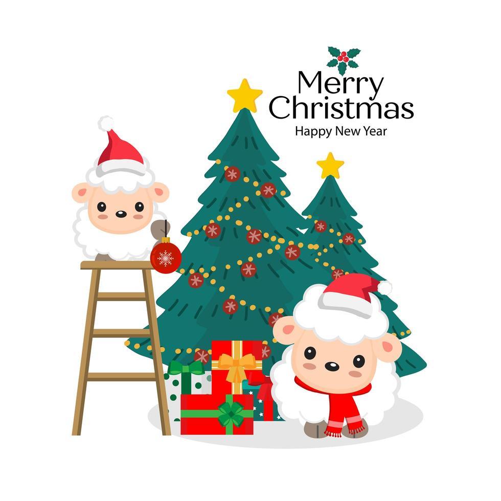 Weihnachtsschaf in Weihnachtsmützen, die Bäume schmücken vektor