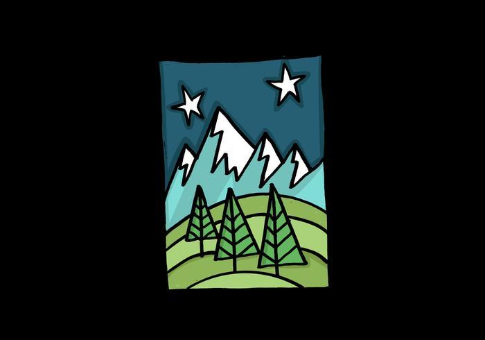 Nachtzeit Berglandschaft vektor