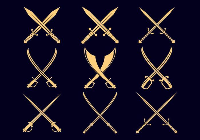 Kreuz Schwerter Icon Set vektor