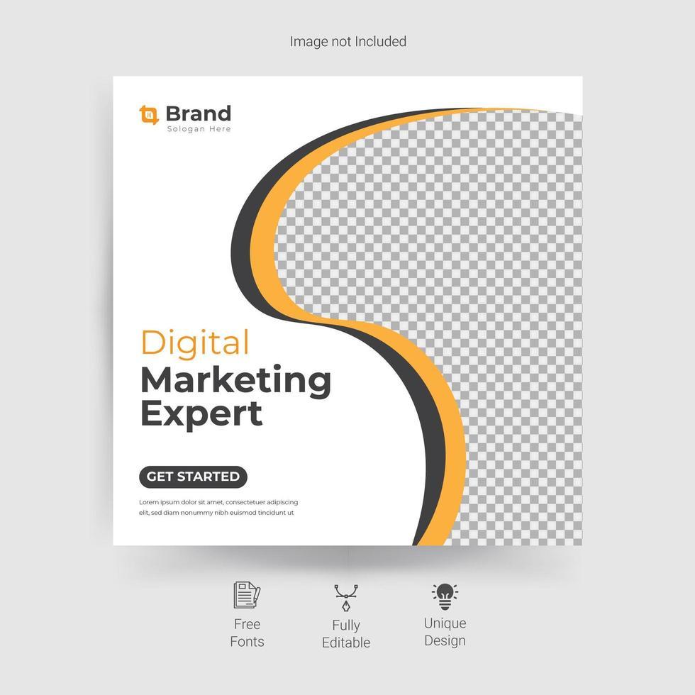 marknadsföring sociala medier mall med gul, grå kurvig design vektor