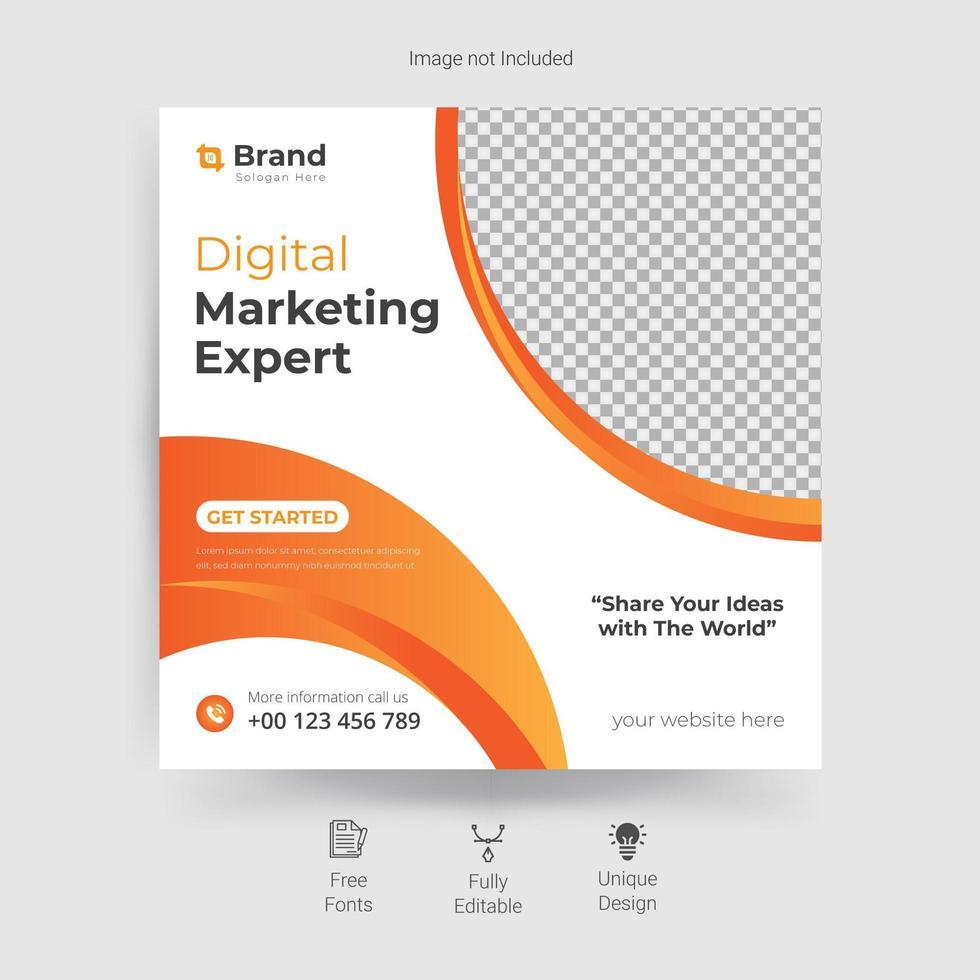 marknadsföring sociala medier mall med orange kurva design vektor