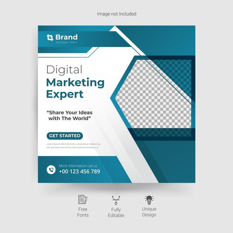 marknadsföring sociala medier mall i blått och vitt vektor