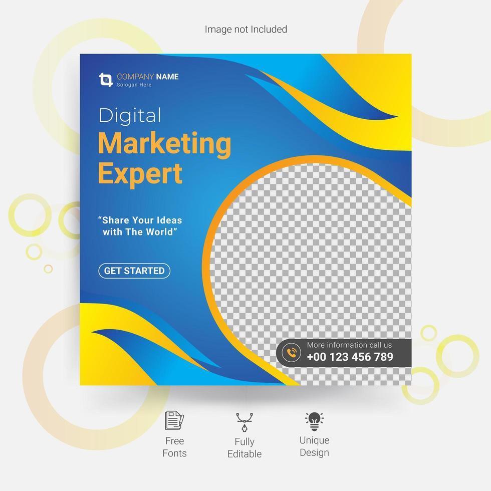 marknadsföring sociala medier mall i blått och gult vektor