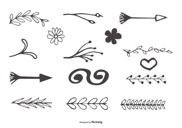 Handgezeichnete dekorative Element-Sammlung vektor