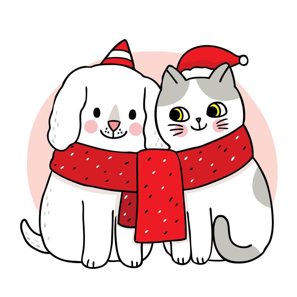 handritad julkatt och hundvänner i halsduk vektor