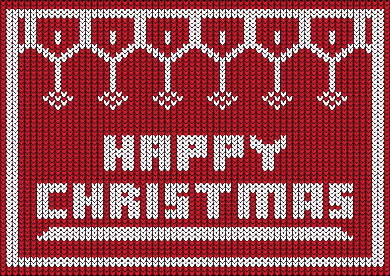 stickad design för lycklig jul vektor
