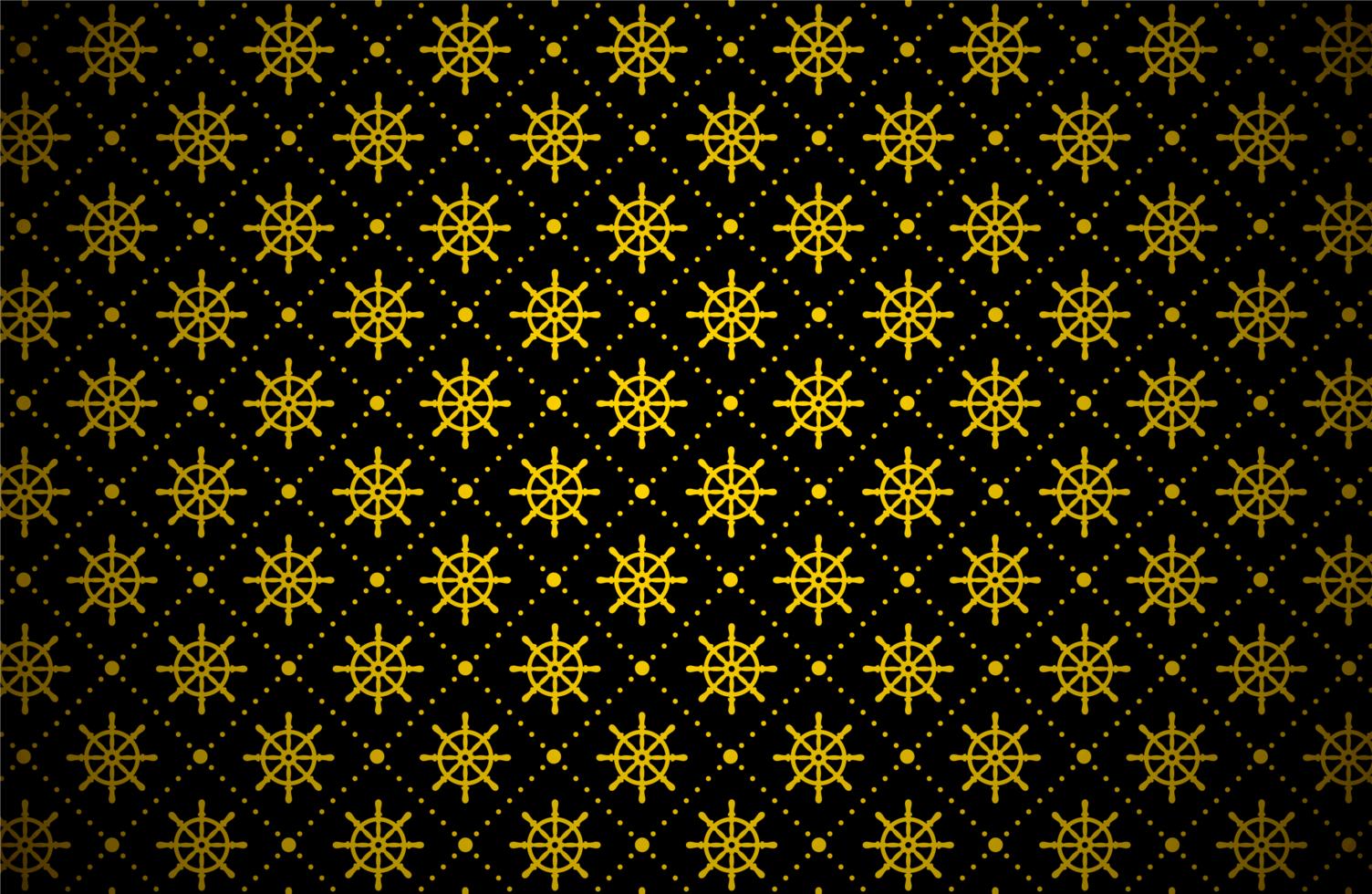 mörkt gyllene skepps hjulmönster vektor