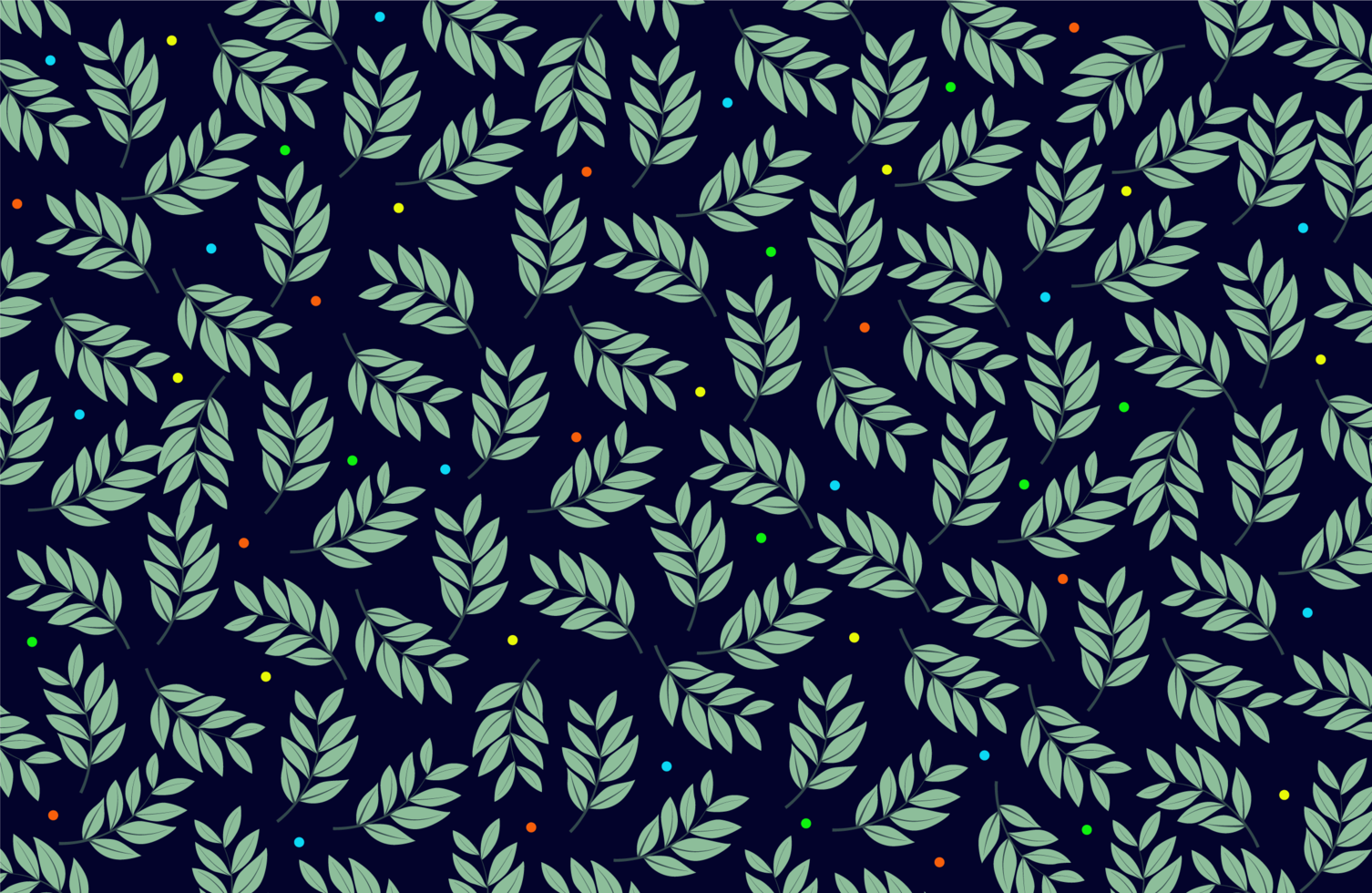 Blätter und bunte Punkte Stoffmuster vektor