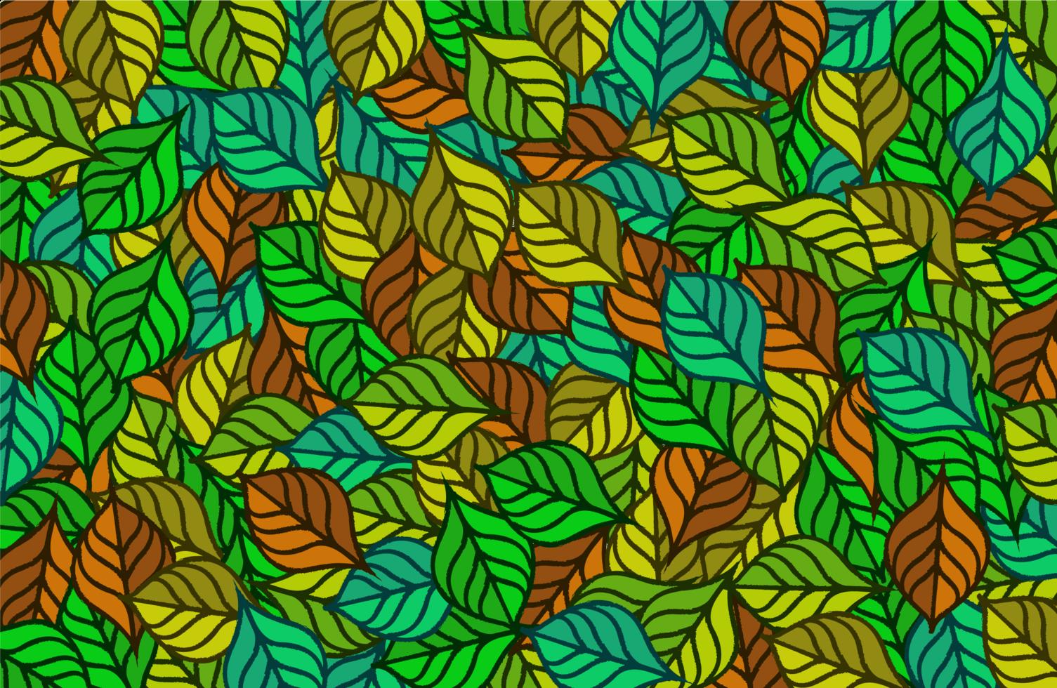 färgglada gröna och bruna bladmönster vektor