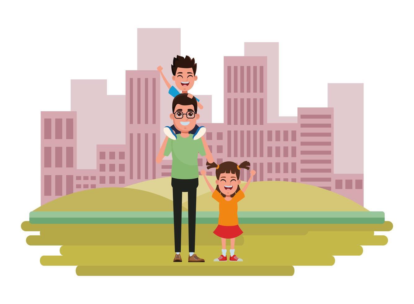 familjens tecknade figurer tillsammans vektor