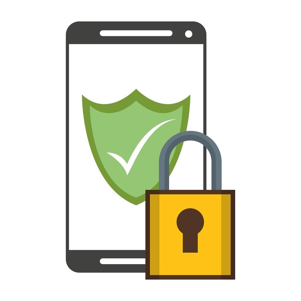 smartphone säkerhetssystem hänglås och sköld vektor