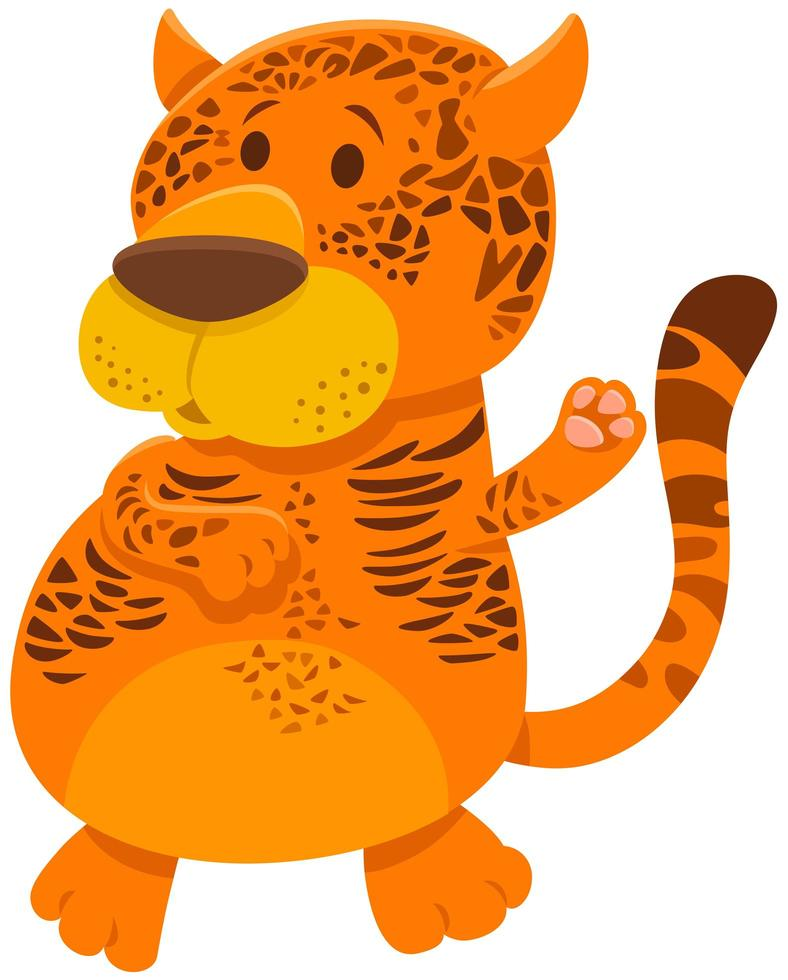 Jaguar Cartoon Wildtier Charakter vektor