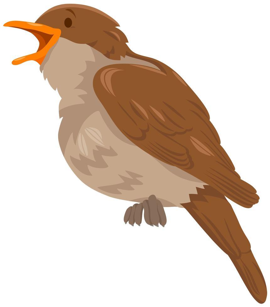 nattergal fågel djur seriefigur vektor