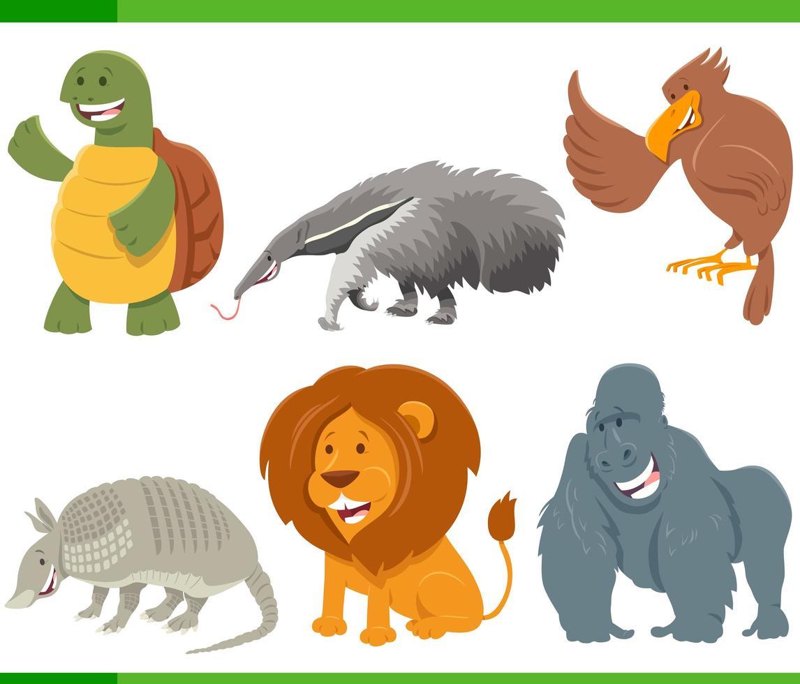 roliga tecknade djur karaktärer set vektor