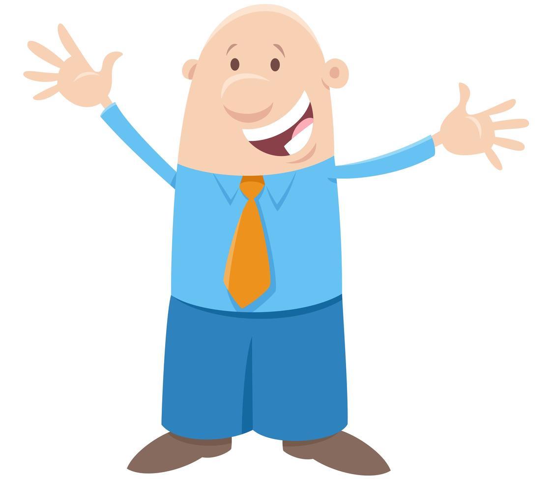 glad man eller affärsman komisk karaktär vektor