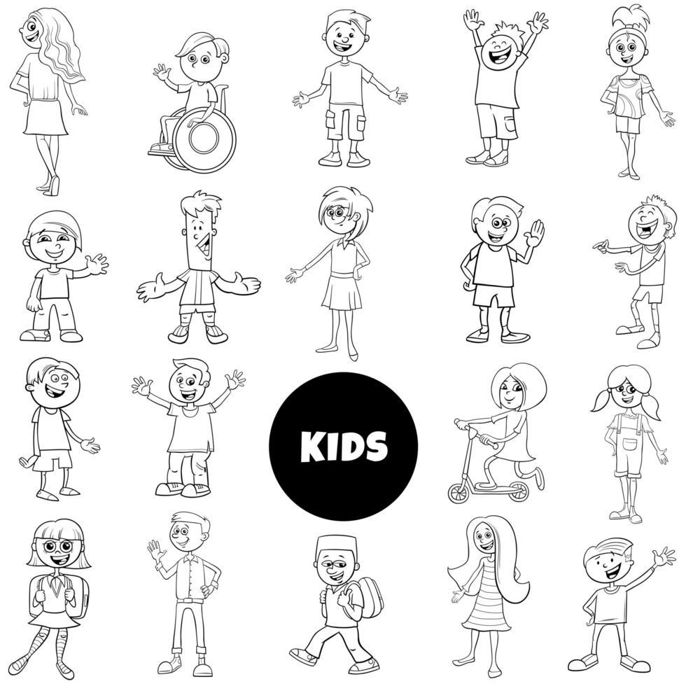 komiska barn karaktärer svartvit uppsättning vektor