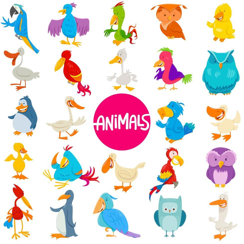tecknade fåglar djur karaktärer stor uppsättning vektor