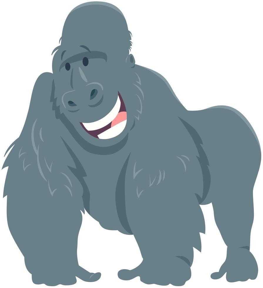 glückliche Gorilla-Affentier-Zeichentrickfigur vektor