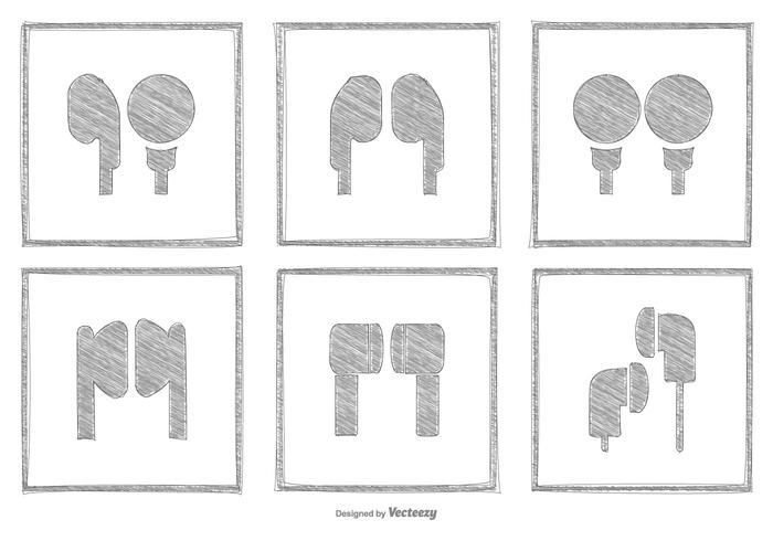 Sketchy Kopfhörer Icon Collection vektor