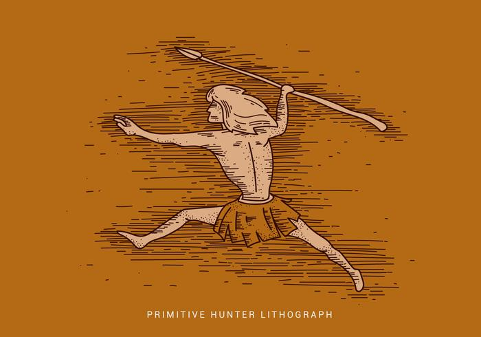Primitiv Hunter Lithograph Vector Illustration