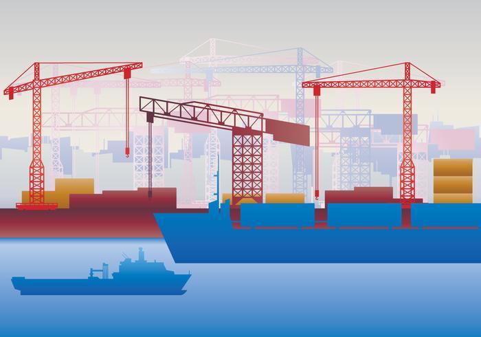 Schiffswerft Hafen Skyline vektor