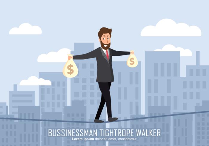 Affärsman Tightrope Walker Illustration vektor
