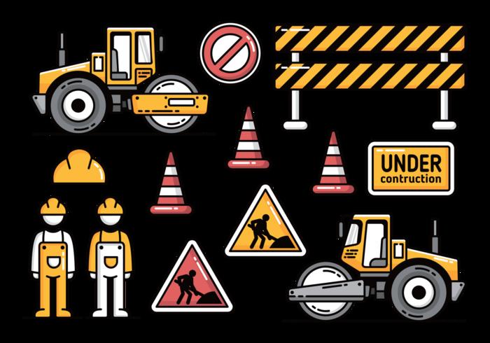 Straßenbau mit Road Roller Vector Icons