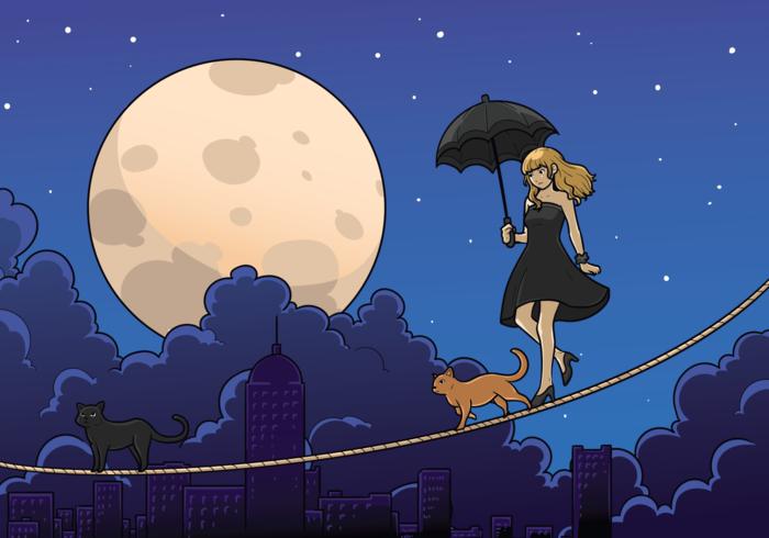 Tightrope Walker Mädchen mit Regenschirm vektor