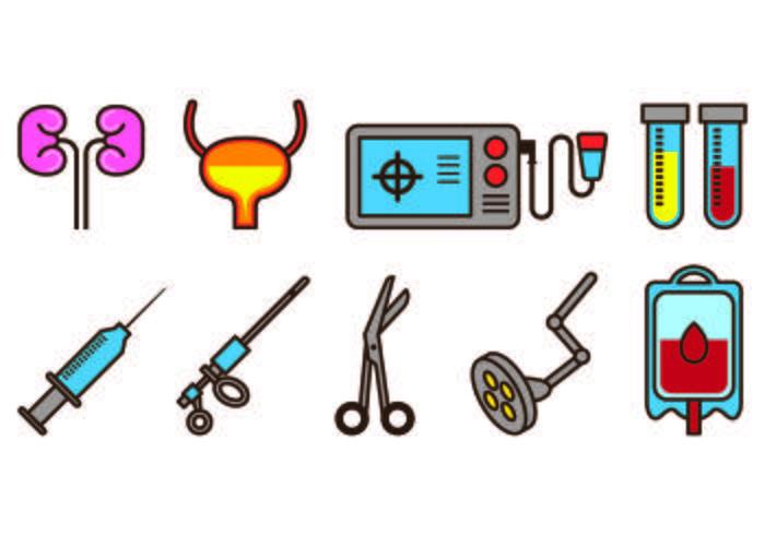 Set von Urologie Icons vektor
