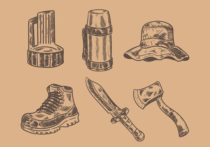 Gravure Old Style Camping Vektor Icons