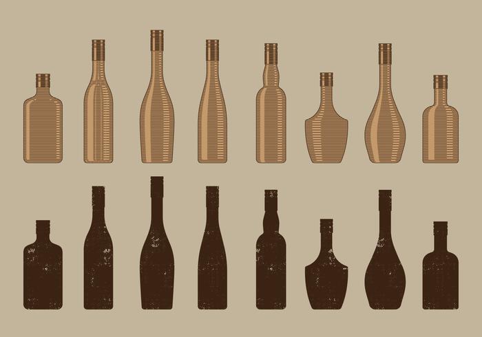 Weinlese-Wein-Flaschen-Sammlung vektor