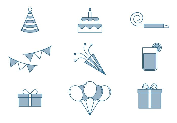 Födelsedagsikoner Set vektor