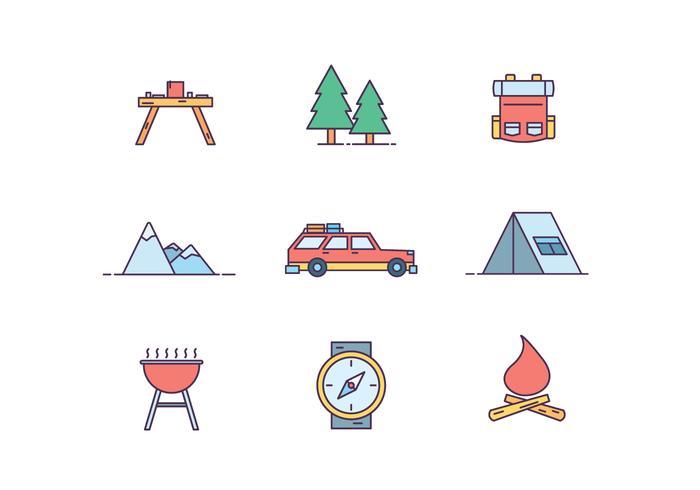 Camping ikoner vektor