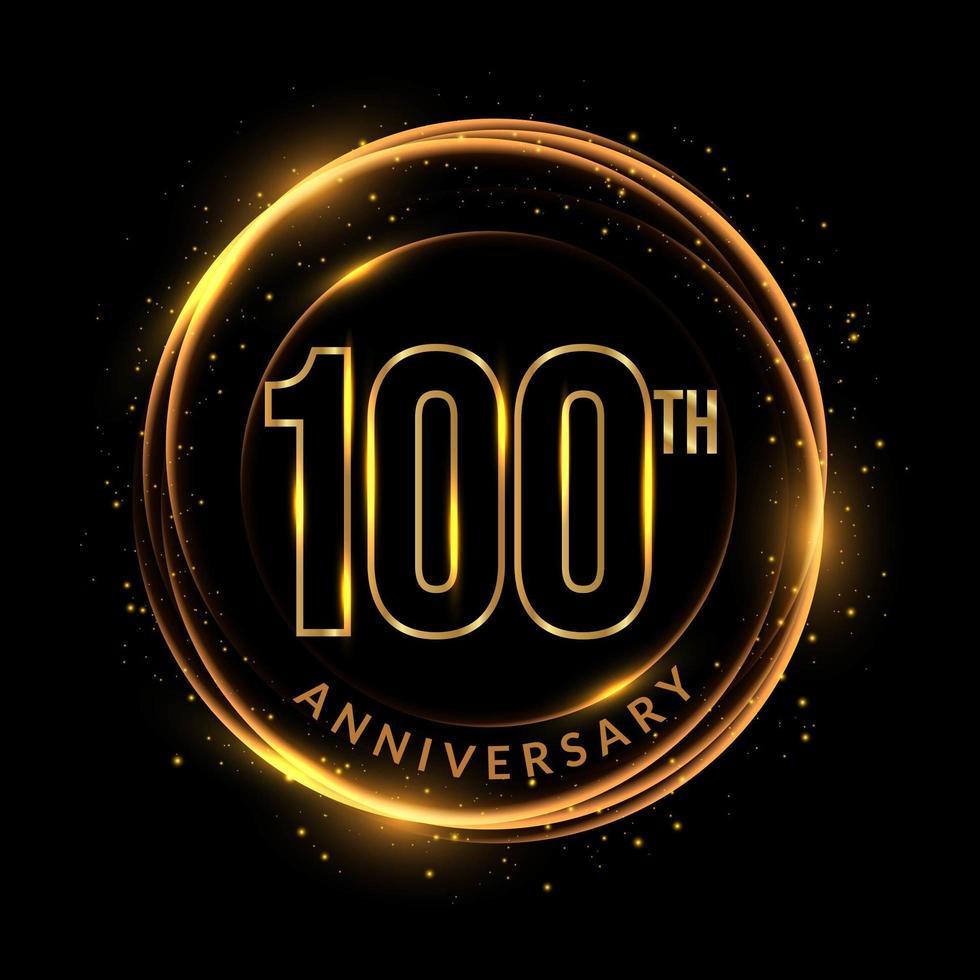 glittrande gyllene 100-årsjubileumstext i cirkulär ram vektor