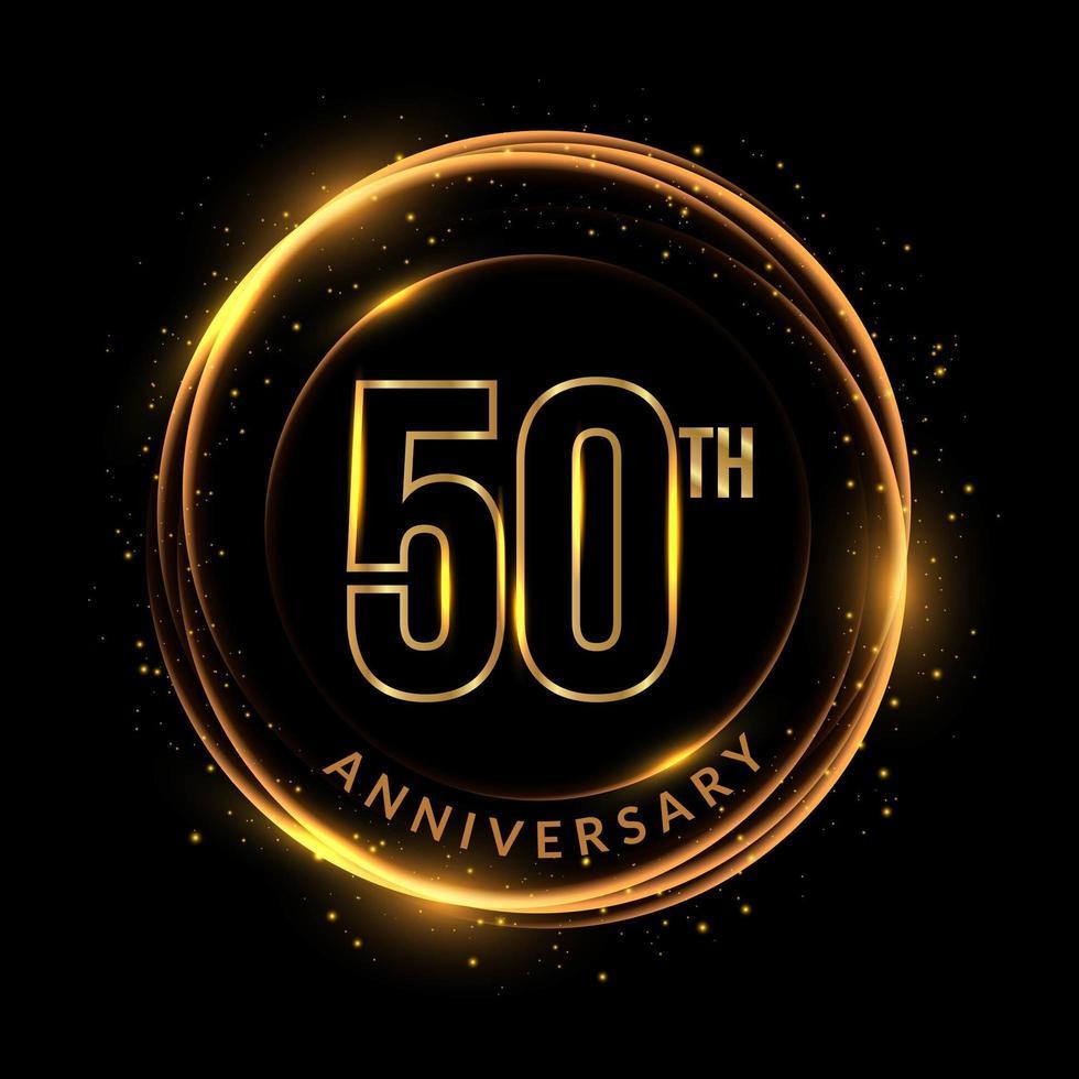 glittrande gyllene 50-årsjubileumstext i cirkulär ram vektor