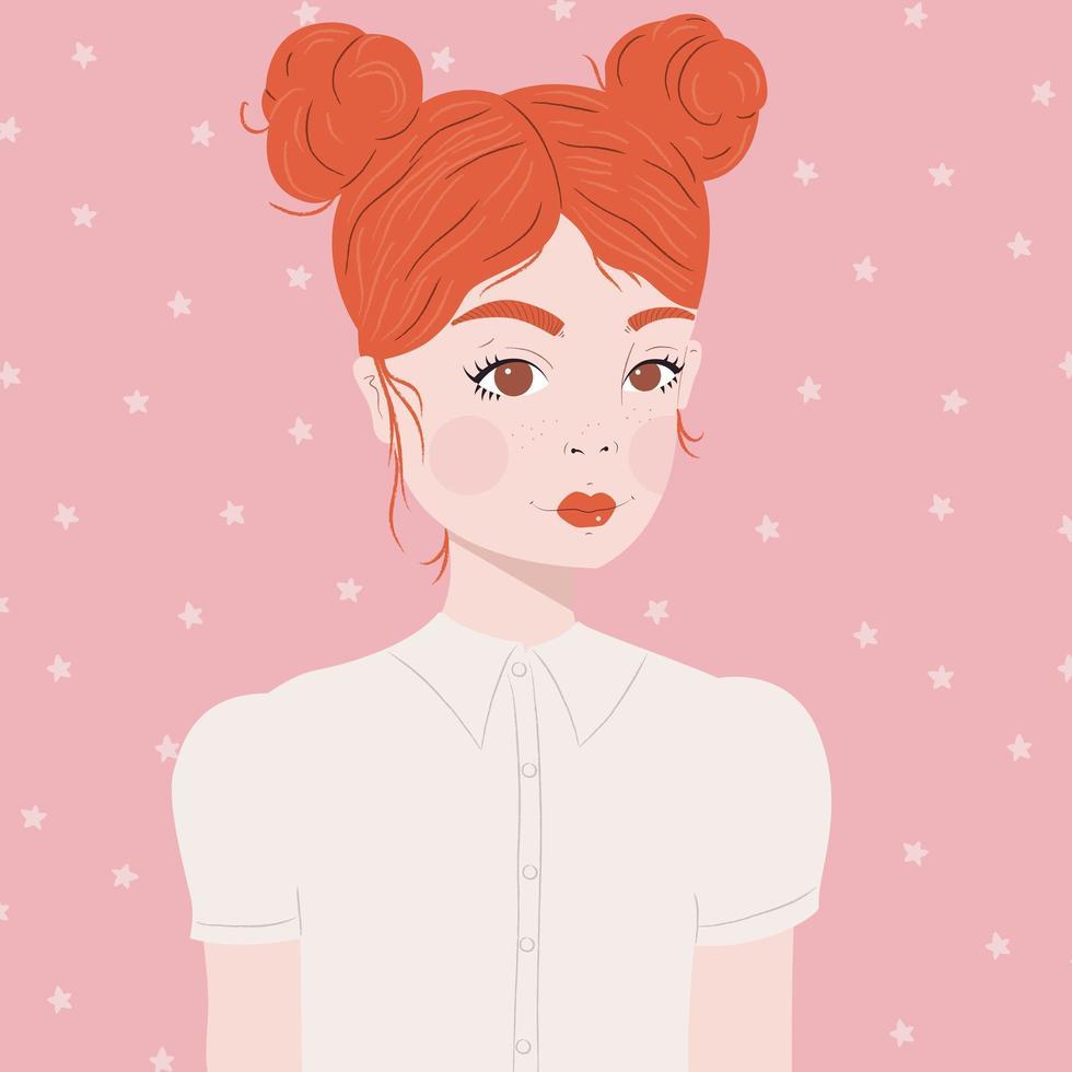 porträtt av en flicka med rött hår vektor