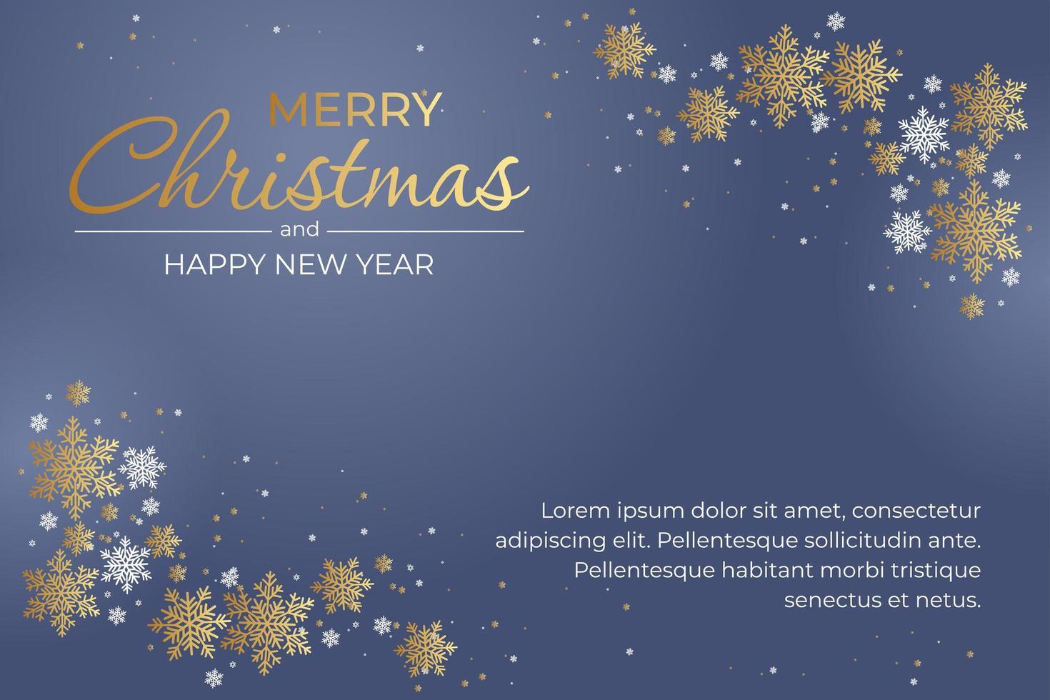 god jul gratulationskort med snöflingor på blått vektor