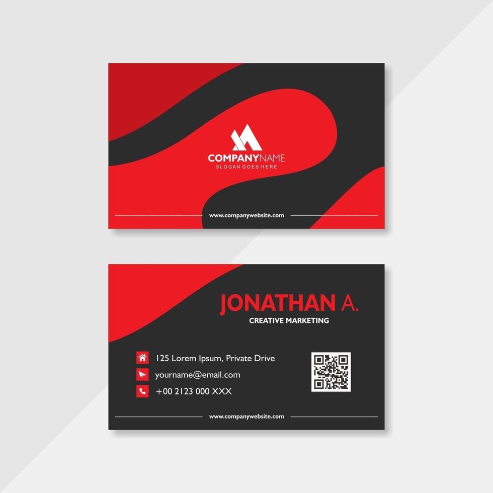 rote und schwarze Visitenkartenschablone des modernen gebogenen Entwurfs vektor