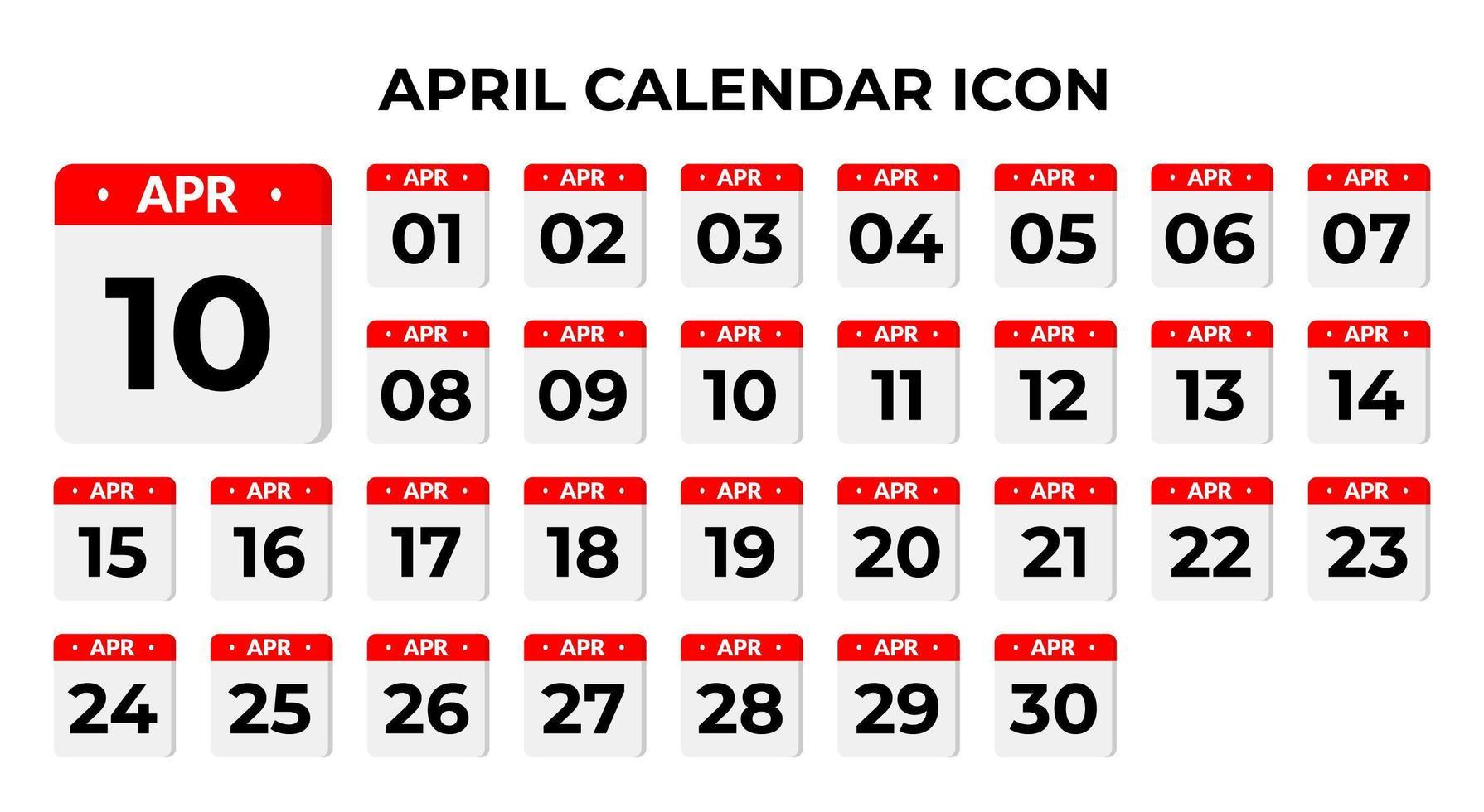 April Kalender Symbole vektor
