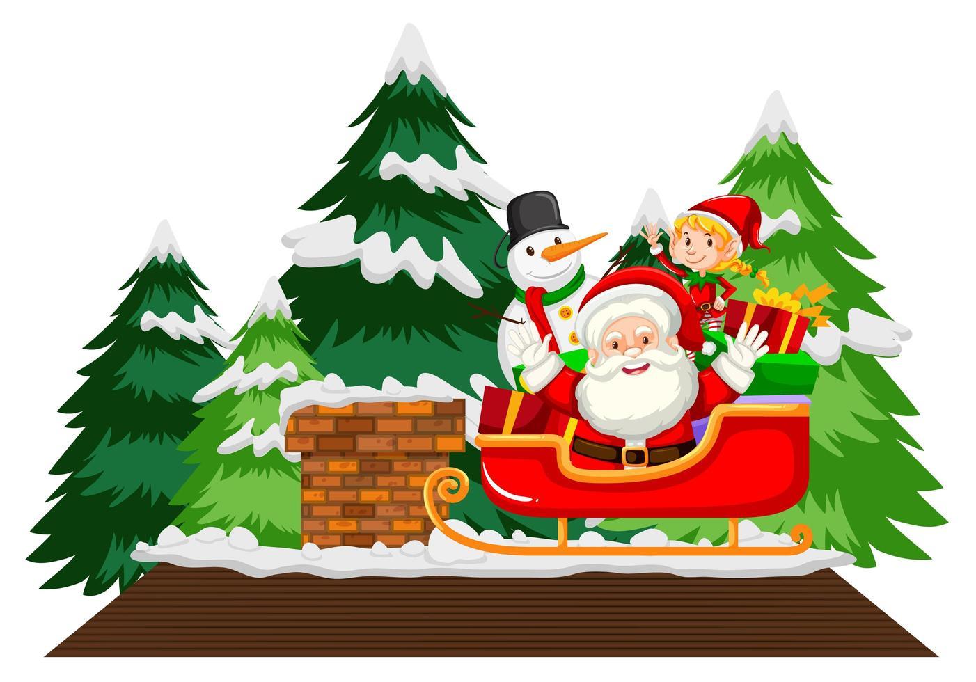 Weihnachtsmann auf Schlitten mit Schneemann und Bäumen vektor