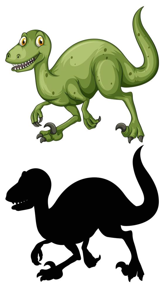 Satz Dinosaurier-Zeichentrickfigur und Silhouette vektor