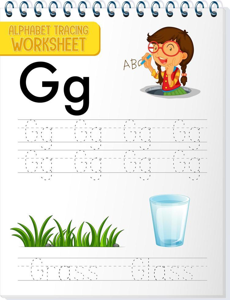 Arbeitsblatt zur Alphabetverfolgung mit dem Buchstaben g vektor